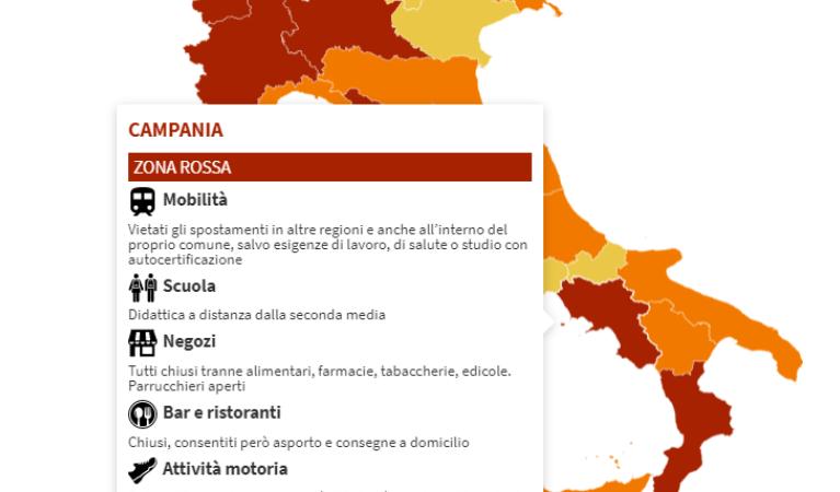 CAMPANIA DIVENTA ZONA ROSSA: IL LOCKDOWN DURERÀ 15 GIORNI.